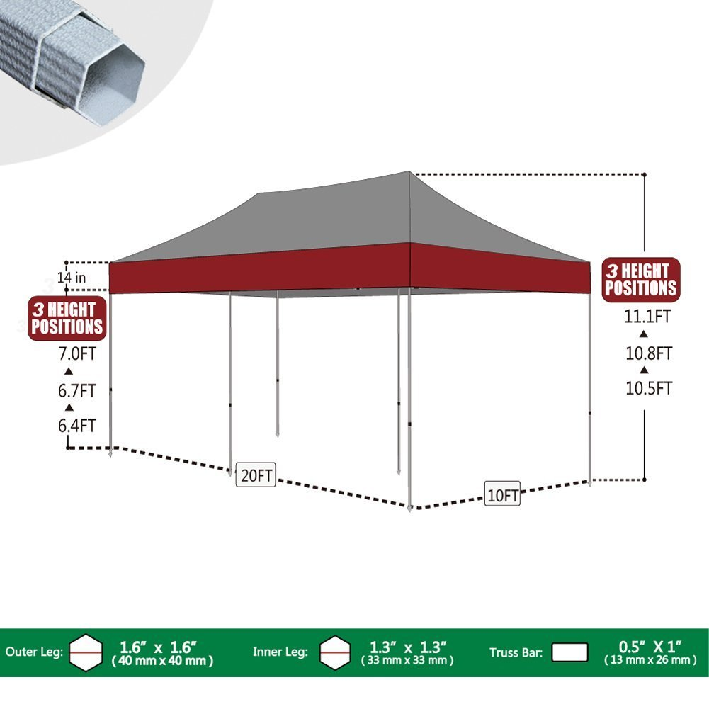 Eurmax 10 x 20 Premium EZ Pop up Canopy Wedding Party Tent Gazebo Shade Shelter Commercial grade Bonus Wheeled bag (Black)
