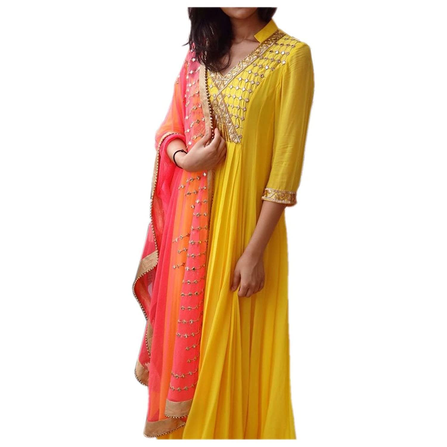 Generic Women'S Faux Georgette Salwar Suit Set (Errr100719_Yellow_Free Size)
