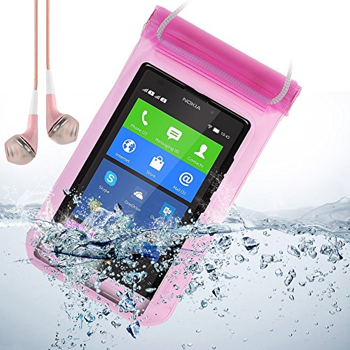 Universal Waterproof Bag Case For Nokia Xl / Nokia 930 / Lumia 630 / Lumia 929 / And Other Nokia Smartphone + Vangoddy Pink Headphone With Mic (Pink)