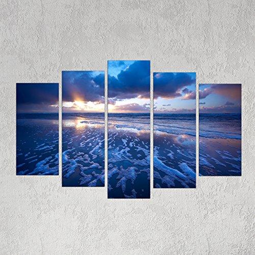 Uto_Art Modern Unframed Modular Paintings on Canvas Art Panel 5 Piece Blue Ocean Decor Canvas Wall Decorative Seascape Painting for Home (1216 Inch x 2 + 1224 Inch x 2 + 1232 Inch x 1) (Modular Arts Wall Panels compare prices)