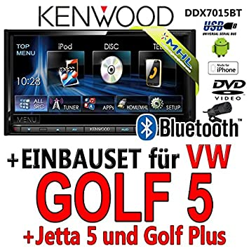 Kenwood-vW golf 5 dDX7015BT 2-dIN multimédia hDMI/mHL dVD bluetooth uSB avec kit de montage