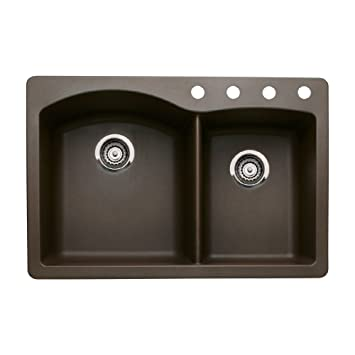 Blanco 440213-4 Diamond 4-Hole Double-Basin Drop-In or Undermount Granite Kitchen Sink, Cafe Brown