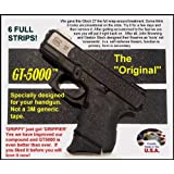6-Pack GT-5000 Grip Tape for Your Pistol * Use on handguns and rifles * Not gritty like sandpaper or skateboard tape. * Does not scuff clothing, holsters, furniture or car seats like those sandy tapes. * Makes chambering a round easier for arthritis sufferers or anyone with less strength in their hands. * Easy to cut and apply. Follows contours better than other tapes. * Improves wet and dry grip. * Improves accuracy at the range or in an emergency. * Quicker more positive acquisition from holster, waistband, glove box or purse. * Perfect match to Glock texturing. * Durable synthetic rubber. Use on grips and slides. * Removes cleanly with no sticky residue.