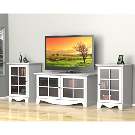 White TV Stand Set with Two Audio Stands FMP25284