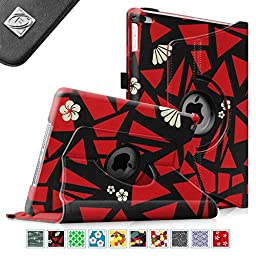 Fintie iPad mini 4 Case - 360 Degree Rotating Stand Case with Smart Cover Auto Sleep / Wake Feature for Apple iPad mini 4 (2015 Release), Flower Fragment Red