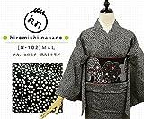 プレタ 袷 洗える着物 ナカノ ヒロミチ  N-102/黒色に梅小花 (Mサイズ)