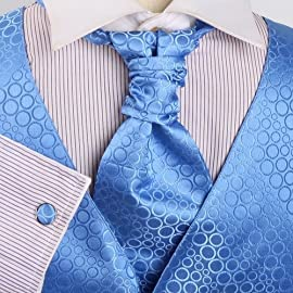 Blue Polka Dots Mens Designer Tuxedo Vest Set Match Tuxedo Vests for Men ,Cufflinks, Hanky And Ascot Tie For Suit Y&G VS2011