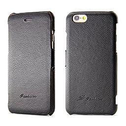 iPhone 6S Plus Case, BELK [Left & Right] Series Flip Genuine Leather Case - [RUB BUMPER] Horizontal Folio Case for iPhone 6 / 6S Plus, 2015 SEP - Black