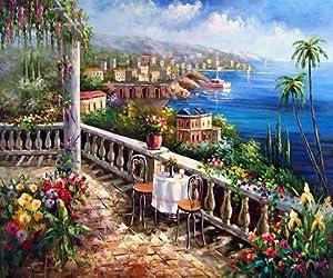Mediterranean Sea Beach Resort Oil Painting Canvas Art Wall Art Home