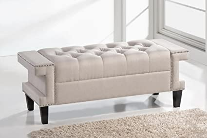 SDS Baxton Studio Norwich Bed Match Bench-Light Beige