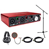 Focusrite Scarlett 2i4 USB Audio Interface (2nd Generation) includes Bonus Audio-Technica Professional Monitor Headphones and More (Color: Silver-2486)