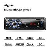 Aigoss Bluetooth Car Stereo, 4x60W Digital Media Receiver with Remote Control, Car Speakerphone Hand-Free Call, Support USB/SD/Audio Receiver/MP3 Player/FM (Color: Black)