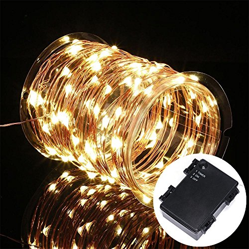 Kohree 3 Pack 100 LEDs Christmas String Light Battery Powered on 33ft Long Ultra Thin String ...