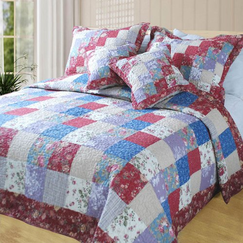 Dada Bedding Dxj101114 Square Forest Cotton Patchwork 5-Piece Quilt Set, King front-990675