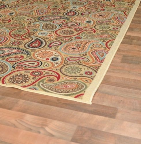New Multi Paisley Design Rubber Backed Non Slip Area Rug