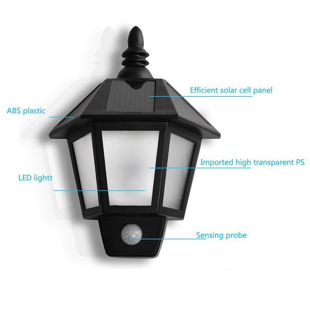 Easternstar LED Solar Wall Light Outdoor Solar Wall Sconces Vintage Solar Motion Sensor Lights Security Wall Lights For Outside Wall,Deck,Porch,Garden,Patio,Fence,Garage(1PCS) 1