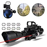 HSEE Tactical Rifle AR15 Scope 4-12x50EG Dual Illuminated, Red Laser Sight and 4 Holographic Reticle Red and Green Dot Sight for 22&11mm Weaver/Picatinny Rail Mount (12 Month Warranty)