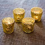 Luna Bazaar Candle Holders (3-Inch, Vertical Motif, Gold Mercury Glass, Set of 4) - For Home Decor and Wedding Decorations - For Use with Tea Light Candles
