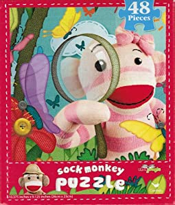 Sock Jungle Sock Monkey Butterfly Hunt 48 Piece Jigsaw Puzzle