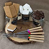 Marshmallow Roasting Sticks & BONUS 10 Bamboo Skewers (Kid Friendly) - Set of 8 Telescoping S'more Skewers / Hot Dog Forks (32 Inch) - Great for Outdoor Campfire, Patio Fire Pit - Camping Cookware