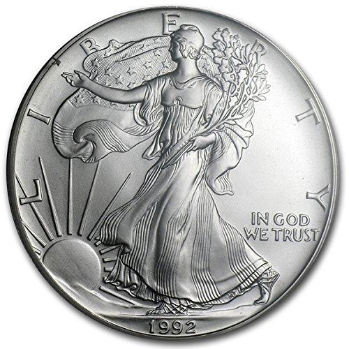 1992 1 Oz American Silver Eagle 999 Fine Silver Dollar