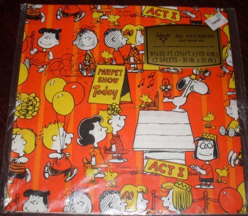 1970's Hallmark Peanuts Gang Snoopy & Puppet Show - Pkg Gift Wrap Wrapping Paper - Birthday, Any Occasion