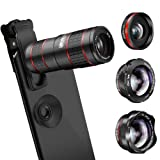 Phone Camera Lens, KNGUVTH 5 in 1 Cell Phone Lens Kit - 12X Zoom Telephoto Lens + Fisheye Lens + Super Wide Angle Lens+ Macro Lens (2 Lens) for iPhone X XS Max XS XR/8/7/6/6s Plus Samsung Andriod (Color: Black Red, Tamaño: 5 in 1 Cell Phone Lens)