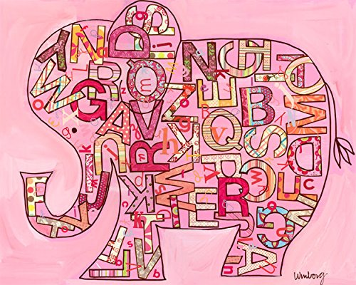 Oopsy Daisy Pink Alphabet Elephant Stretched Canvas Wall Art by Winborg Sisters, 30 by 24-Inch
