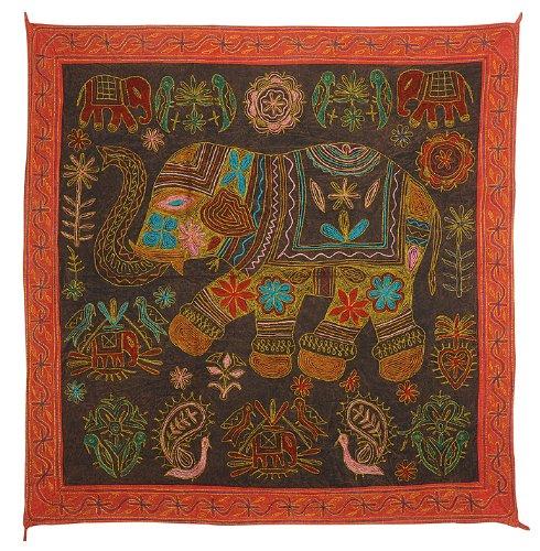 Imagen 2 de Bordado Tradicional Tapiz Tradicional Zari Work-Wall Hanging-Table tiro en tela de algodón Tamaño 36 x 36 pulgadas