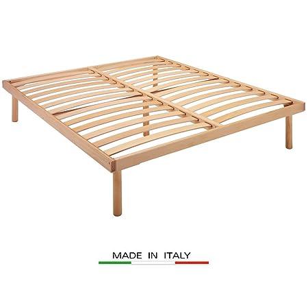 Rete a doghe in legno naturale di faggio ergonomica matrimoniale - 160x195