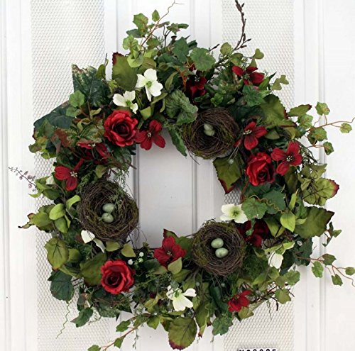 Birds Nest Silk Spring Door Wreath 22 Inch -Handcrafted on a Grapevine Wreath Base- Beautiful Display in Spring, Summer, Fall, and Winter (Spring Wreaths Outdoor compare prices)