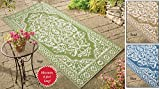 Woven Medallion Outdoor Patio Rug Mat Sage