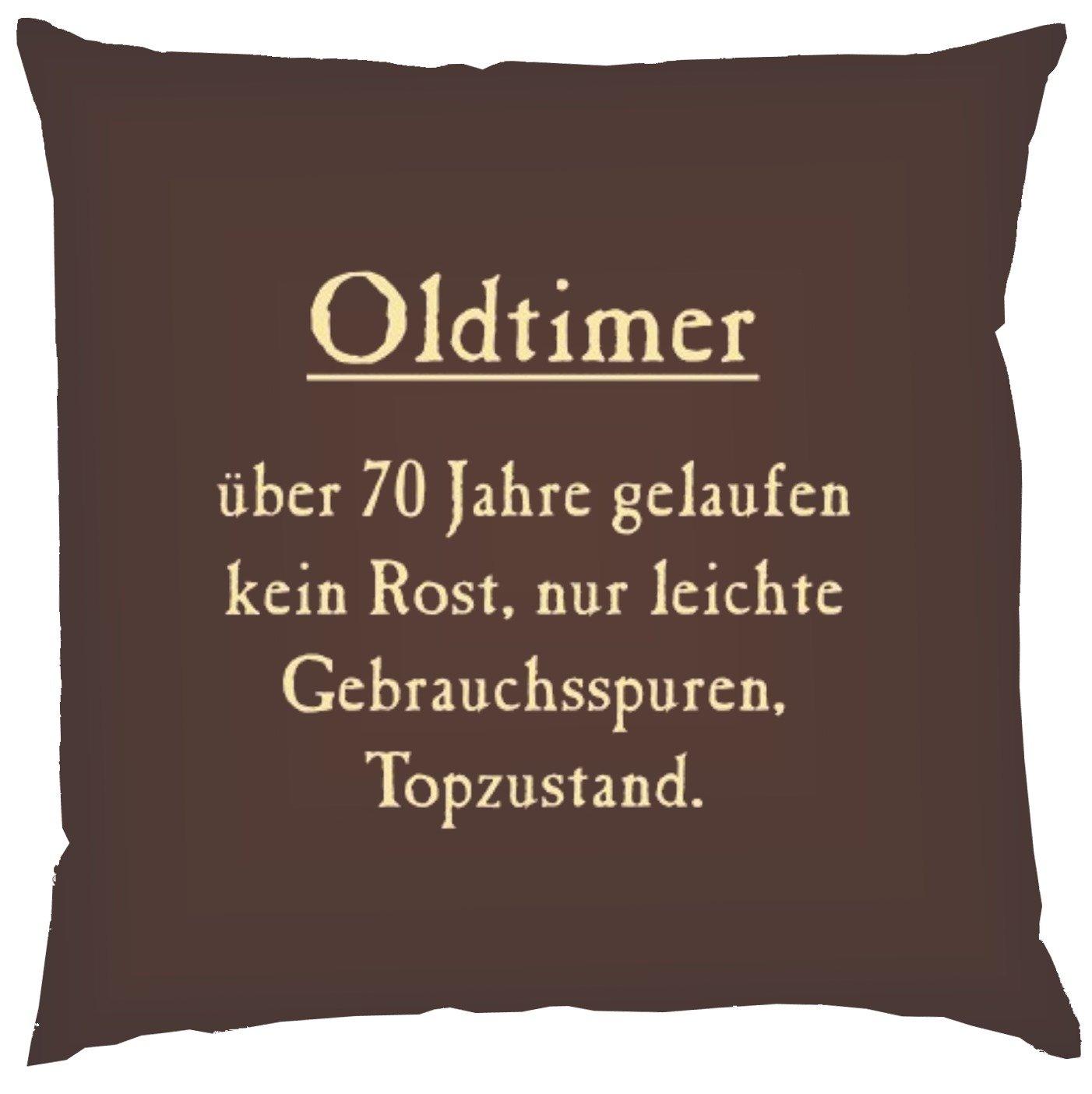 Kissen mit Innenkissen - Oldtimer über 70 Jahre gelaufen - zum 70. Geburtstag - 40 x 40 cm - in schoco-braun
