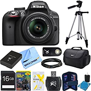 Nikon D3300 24.2 MP Digital SLR Black Camera with 18-55mm VR II Lens (Refurbished) Bundle includes camera, 18-55mm lens, 16GB memory card, memory card wallet, card reader, gadget bag, 57-inch tripod, training DVD, HDMI cable, shutter remote control, and m
