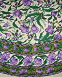 French Floral Tablecoth-66 Inch Round-Emerald & Purple