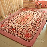 Luk Oil European Pink Flowers Carpet Large Living Room Carpet Garden Roses Bedroom Rugs Baby Crawling Mat (250cmX200cm)