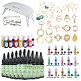 10 Pieces 30ML Crystal Epoxy Resin + UV Led Lamp, 38 Open Back Bezels with 2x5 Meters Adhesive Tapes +28 Pigment for Crafting Jewelry Necklace Bracelet Making (Tamaño: 300Resin+lamp+Kit B)