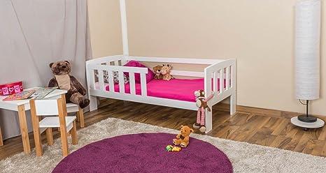 Kinderbett mit Absturzsicherung Kiefer Vollholz massiv weiß lackiert A17, inkl. Lattenrost - Abmessung 70 x 160 cm - inklusive Matratze