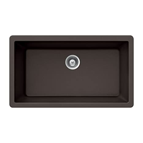 Houzer VIRTUS N-100XLU MOCHA Virtus Series Topmount Granite Single Bowl Kitchen Sink, Mocha