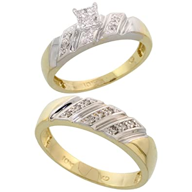 9ct Gold 2-Piece Diamond Ring Set, 5mm Engagement Ring & 6mm Man's Wedding Band