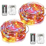 2 Set Fairy String Lights Battery Operated Waterproof YIHONG 8 Modes 50 LED String Lights 16.4FT Copper Wire Firefly Lights Remote Control (Multicolor)