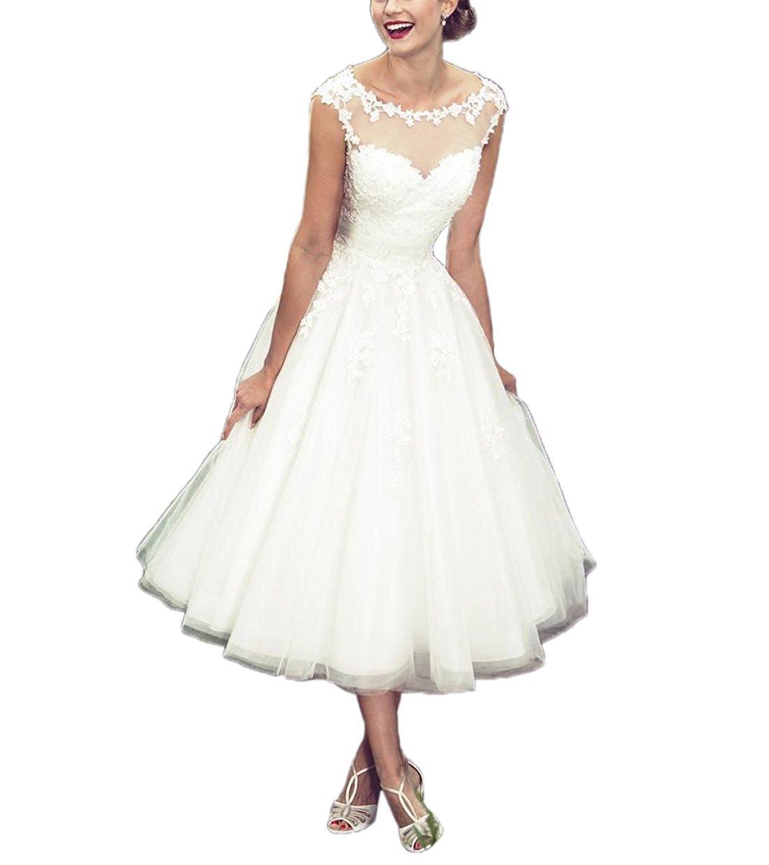 Women's Elegant Sheer Vintage Short Lace Wedding Dress For Bride 0