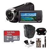 Sony HDR-CX440/B Full HD Video Handycam Camcorder w/Sony 16GB SD Card Bundle (Tamaño: Essentials Bundle)