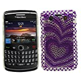 Samrick Pure Hearts Bling Diamante Gemstone Hard Hybrid Armour Shell Protection Case for Blackberry 9700 Bold/9780 Bold - Purple