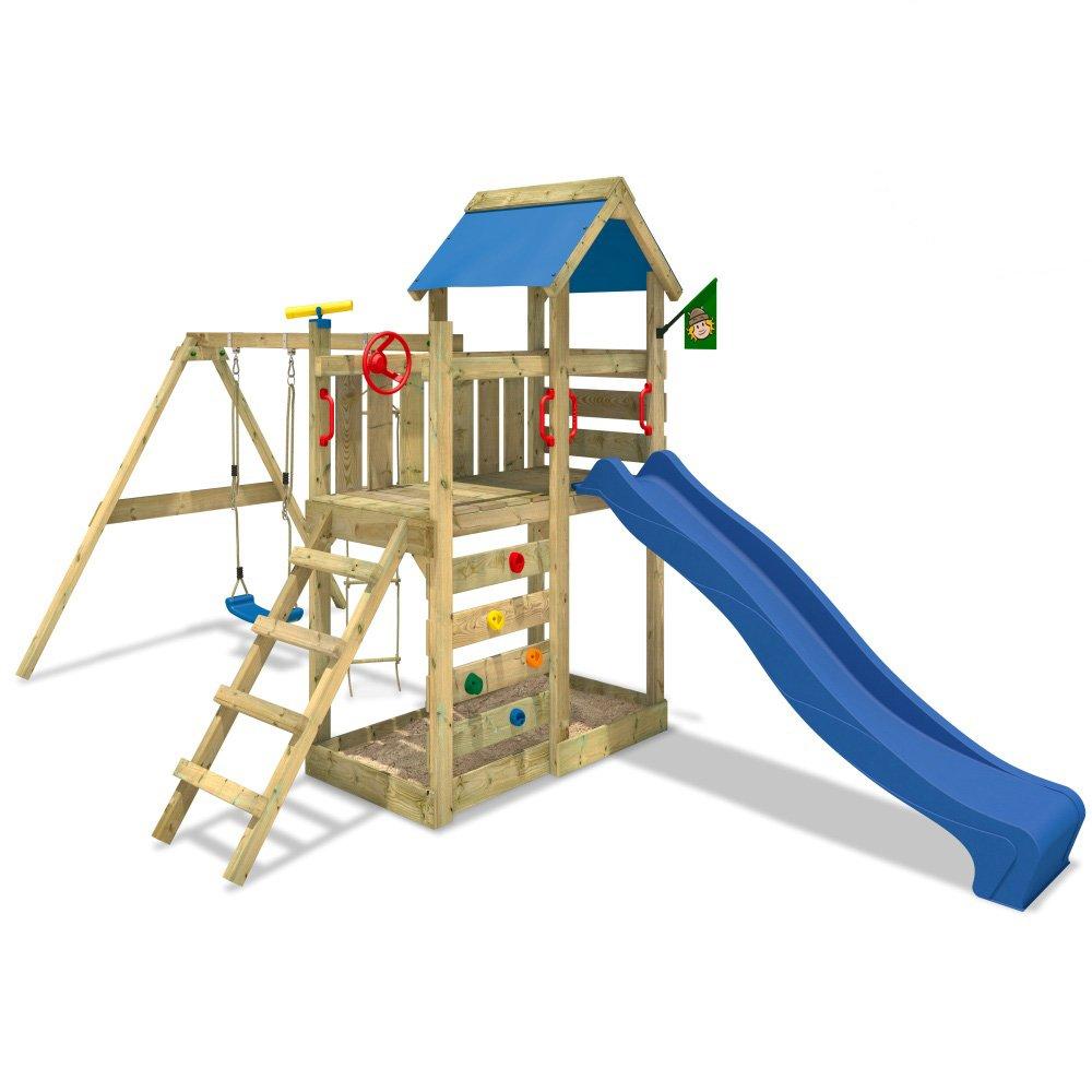 WICKEY MultiFlyer Spielturm Kletterturm mit Rutsche Schaukel Sandkasten + Zubehör-Komplettset (blaue Rutsche / blaue Dachplane) bestellen