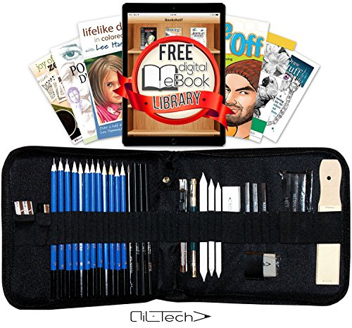 Sketching and Drawing Pencils Professional Art Set 33 Pieces Essential Graphite Charcoal Tool Kit for Artist (Very Big Sketchbook compare prices)