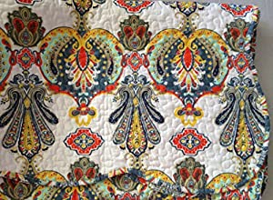 Quilted Throw Blanket 50quot x 60quot - Colorful Yvette Paisley Floral On White