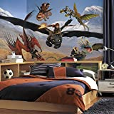 RoomMates JL1332M Ultra Strippable How to Train Your Dragon Chair Rail Prepasted Mural, 6-Feet x 10.5-Feet