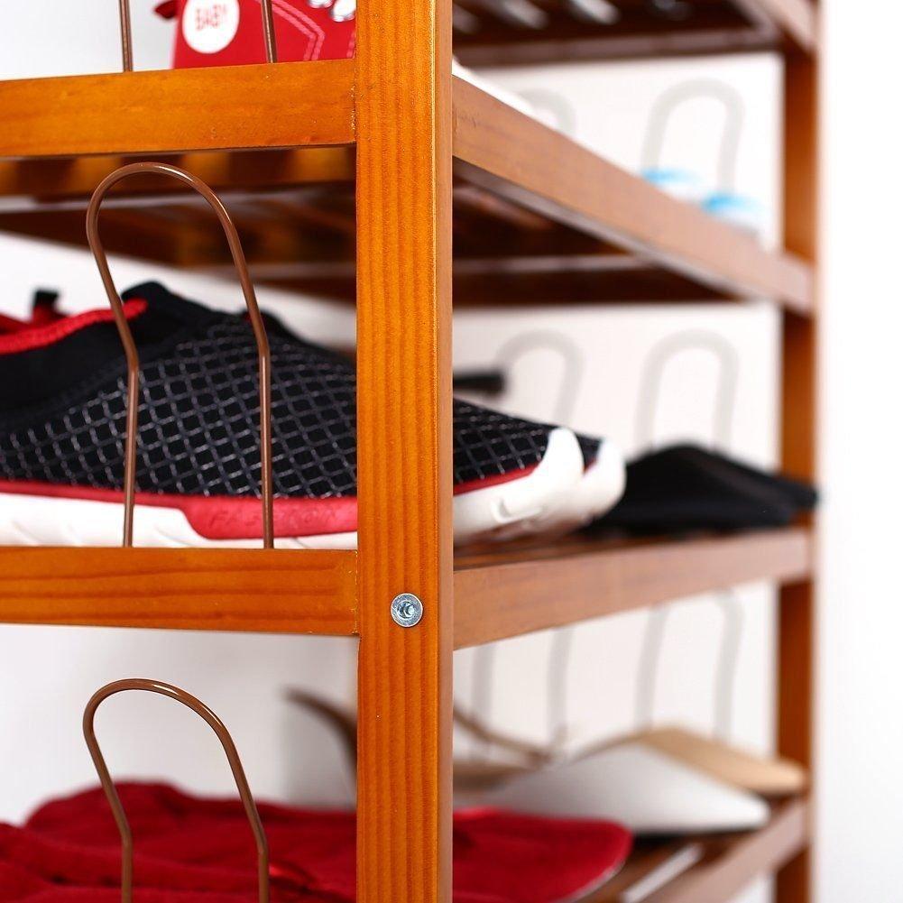 HOMFA 5-Tier Wooden Shoe Shelf Storage Organizer Entryway Shoe rack, Home Shelf Storage Cabinet for Shoes, Books and Flowerpots