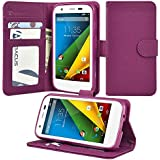 Moto G Case, Abacus24-7 Motorola Moto G Wallet Case [Book Fold] Leather Moto G Flip Cover with Folding Stand, Transparent ID holder, Credit Card Slots - Purple Flip Case for Motorola Moto G, 2013 (1st Gen.)